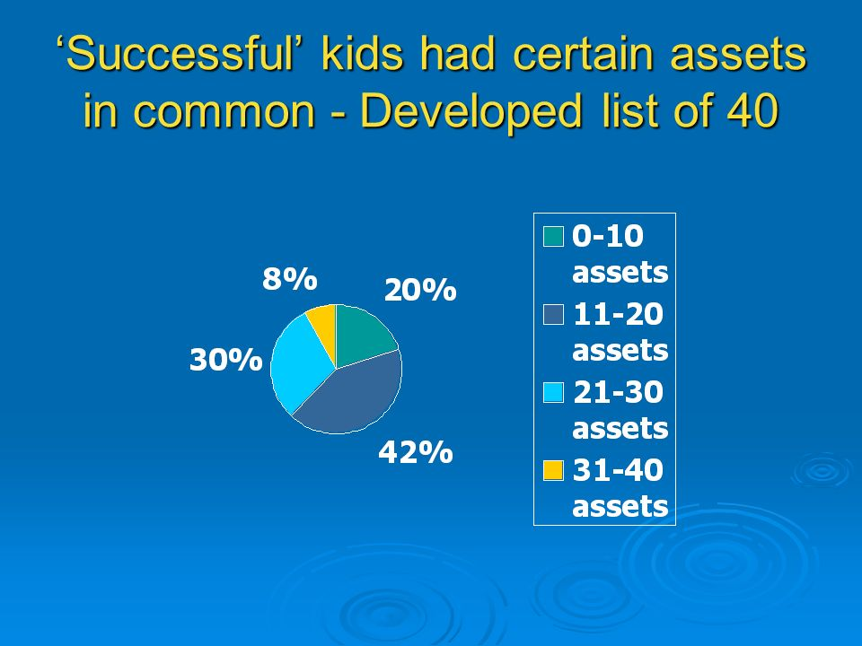 'Successful' kids had certain assets in common - Developed list of 40
