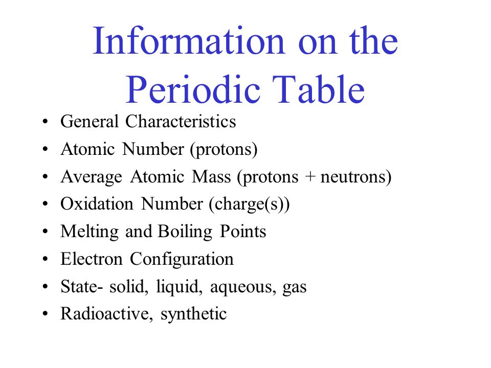 Your friend the periodic table what it is how it works and how to 8 information on the periodic table general characteristics atomic number protons average atomic mass urtaz Gallery