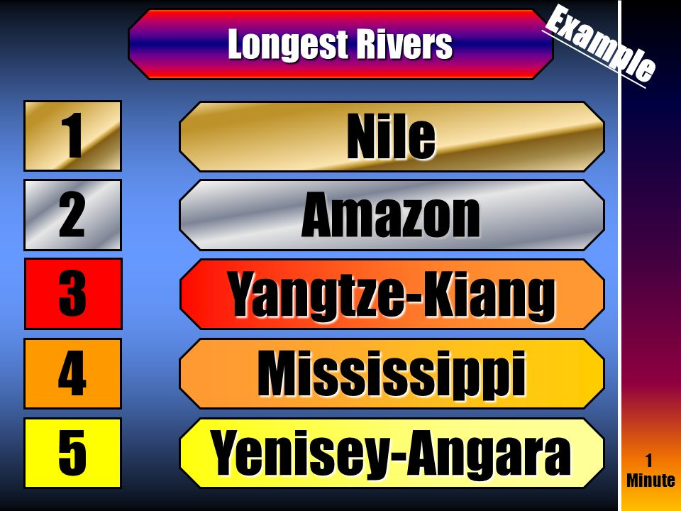 Students Need To Guess The Most Popular Vocabulary Items Of A - World's longest rivers top 5