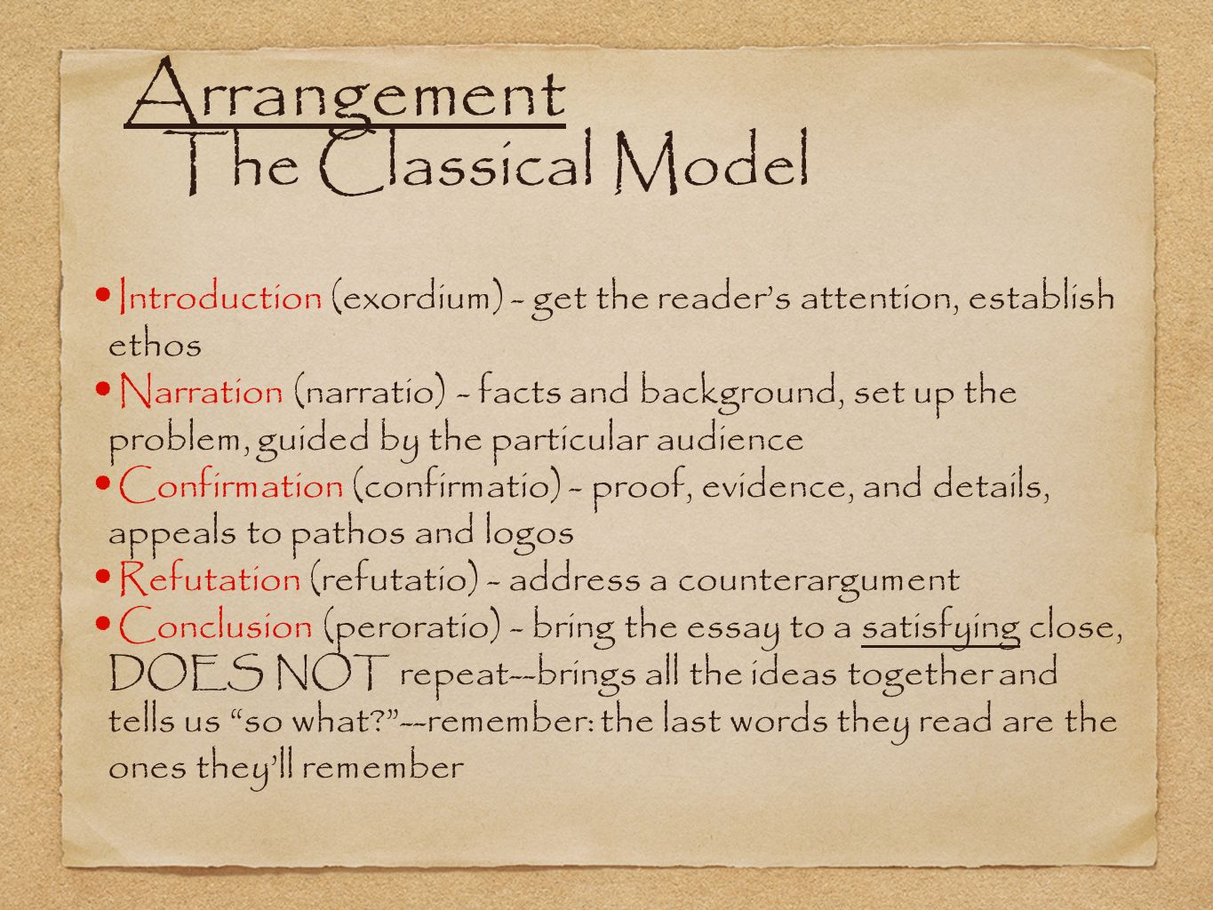 Arrangement The Classical Model Introduction (exordium) - get the reader's attention, establish ethos Narration (narratio) - facts and background, set up the problem, guided by the particular audience Confirmation (confirmatio) - proof, evidence, and details, appeals to pathos and logos Refutation (refutatio) - address a counterargument Conclusion (peroratio) - bring the essay to a satisfying close, DOES NOT repeat--brings all the ideas together and tells us so what --remember: the last words they read are the ones they'll remember