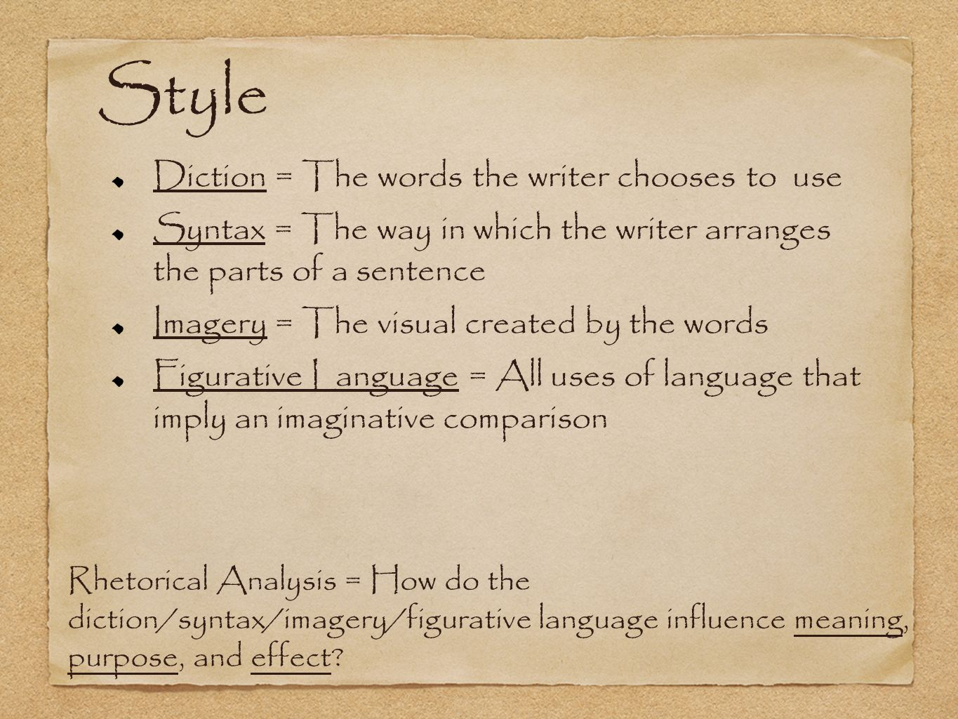 Style Diction = The words the writer chooses to use Syntax = The way in which the writer arranges the parts of a sentence Imagery = The visual created by the words Figurative Language = All uses of language that imply an imaginative comparison Rhetorical Analysis = How do the diction/syntax/imagery/figurative language influence meaning, purpose, and effect