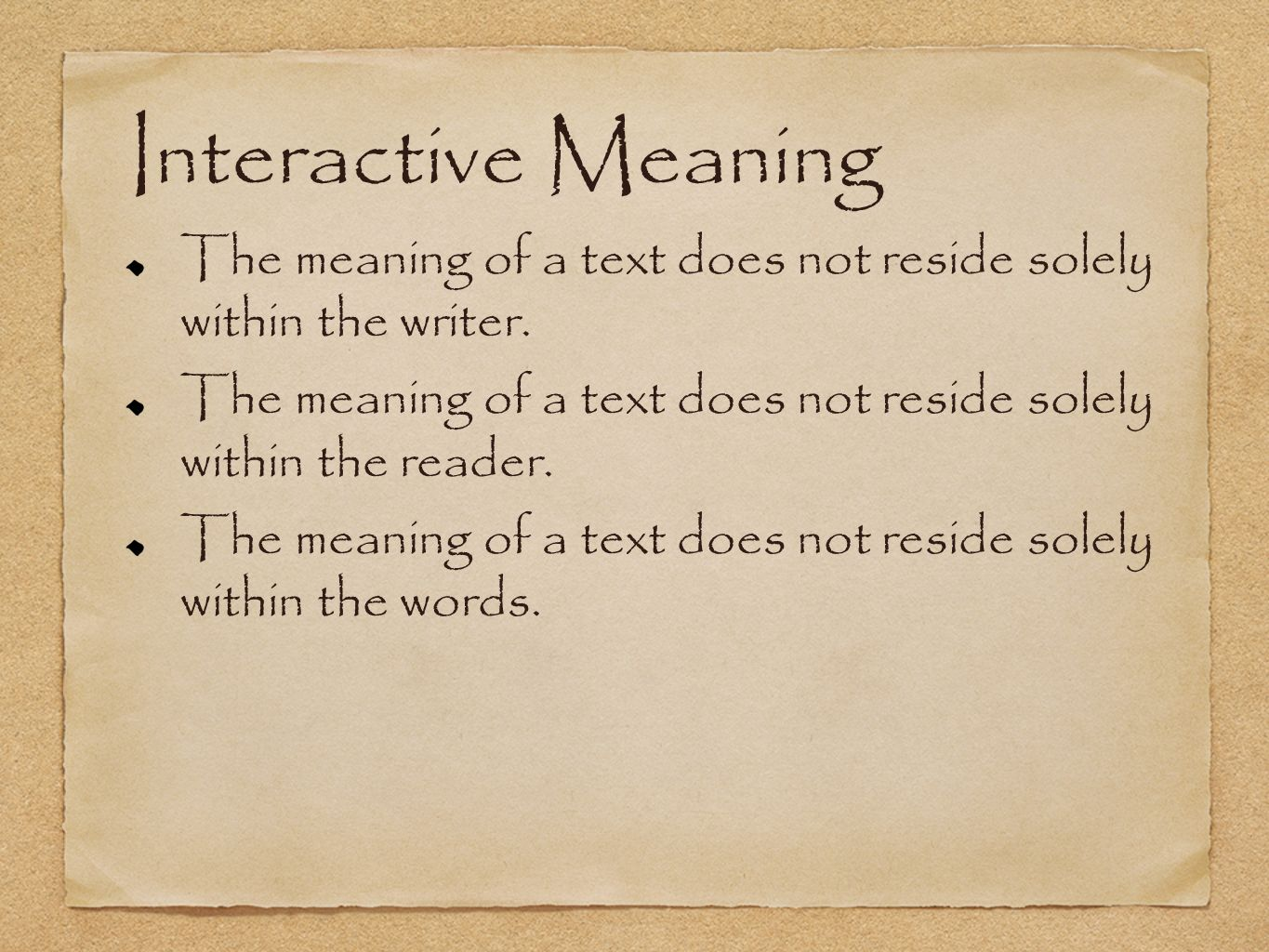 Interactive Meaning The meaning of a text does not reside solely within the writer.