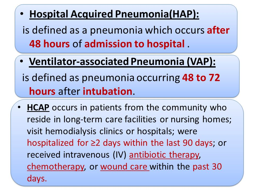 Hospital Acquired Pneumonia(HAP): is defined as a pneumonia which ...