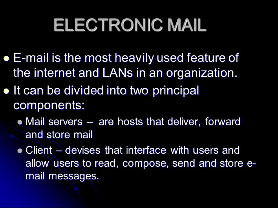 ELECTRONIC MAIL  is the most heavily used feature of the internet and LANs in an organization.