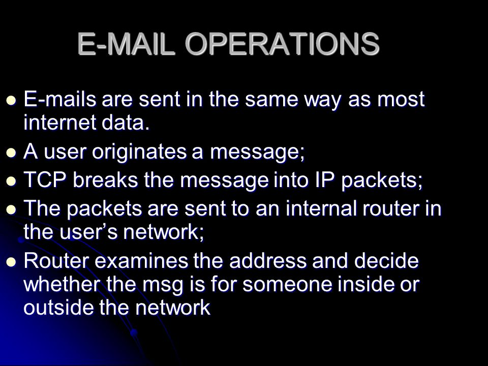 OPERATIONS  s are sent in the same way as most internet data.