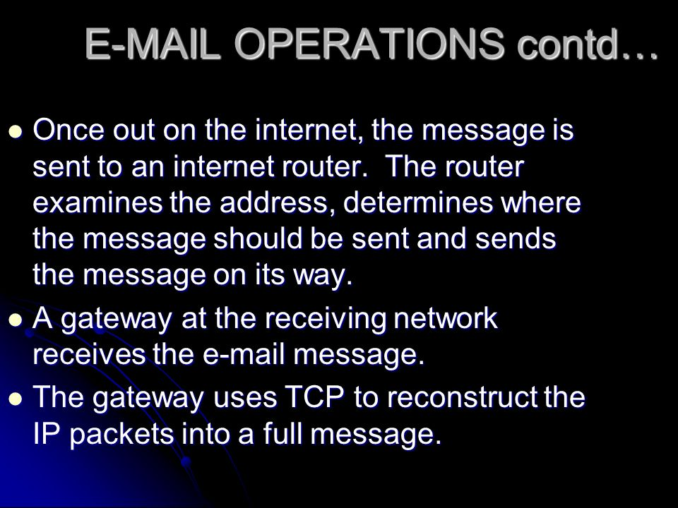 OPERATIONS contd… Once out on the internet, the message is sent to an internet router.