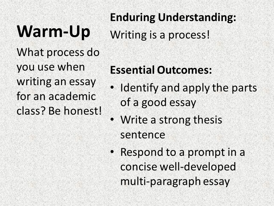 english how to write a good essay warm up essay prompt and  warm up enduring understanding writing is a process