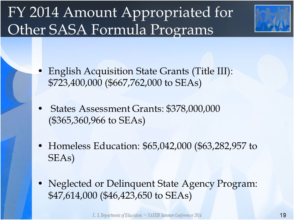 FY 2014 Amount Appropriated for Other SASA Formula Programs 19 U.