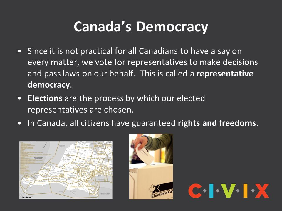 Canada's Democracy Since it is not practical for all Canadians to have a say on every matter, we vote for representatives to make decisions and pass laws on our behalf.
