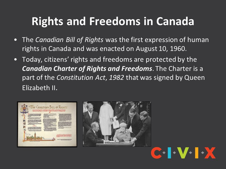 Rights and Freedoms in Canada The Canadian Bill of Rights was the first expression of human rights in Canada and was enacted on August 10, 1960.