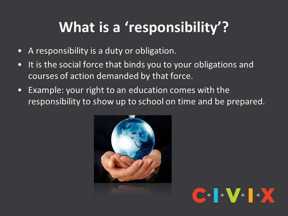 What is a 'responsibility'. A responsibility is a duty or obligation.
