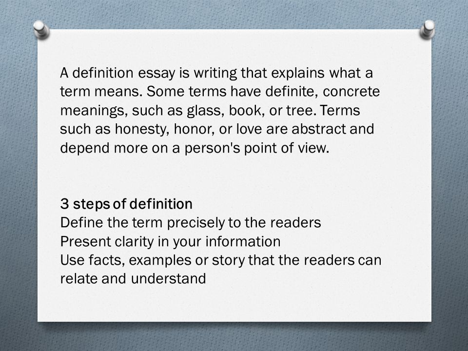 ap lang and comp ms bugasch goals compare  a definition essay is writing that explains what a term means