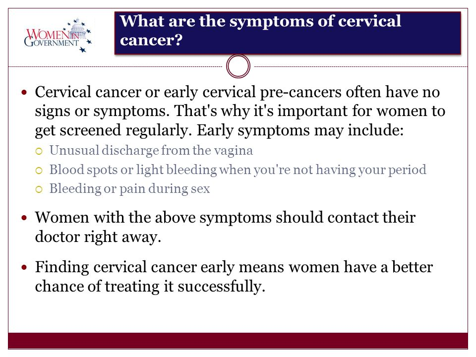 What are the symptoms of cervical cancer.