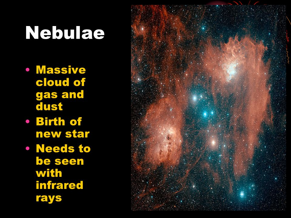 Nebulae Massive cloud of gas and dust Birth of new star Needs to be seen with infrared rays
