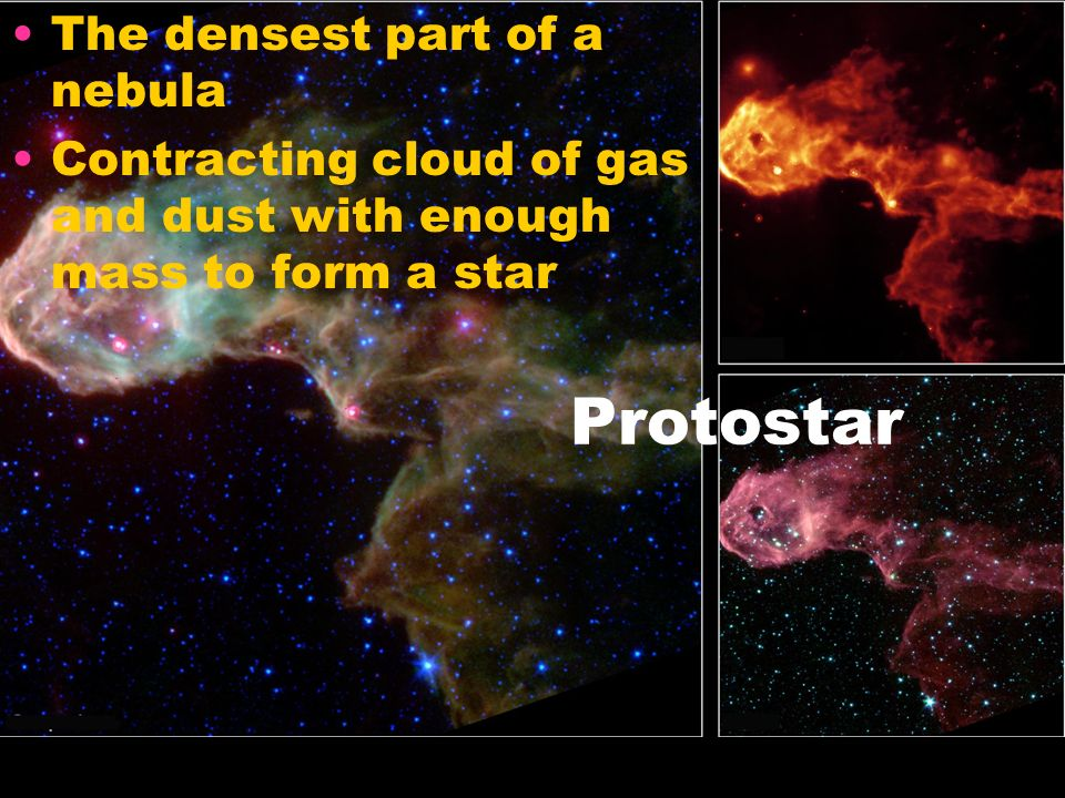 Protostar The densest part of a nebula Contracting cloud of gas and dust with enough mass to form a star