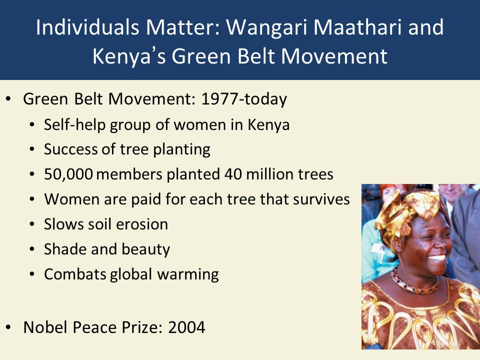 Individuals Matter: Wangari Maathari and Kenya's Green Belt Movement Green Belt Movement: 1977-today Self-help group of women in Kenya Success of tree planting 50,000 members planted 40 million trees Women are paid for each tree that survives Slows soil erosion Shade and beauty Combats global warming Nobel Peace Prize: 2004