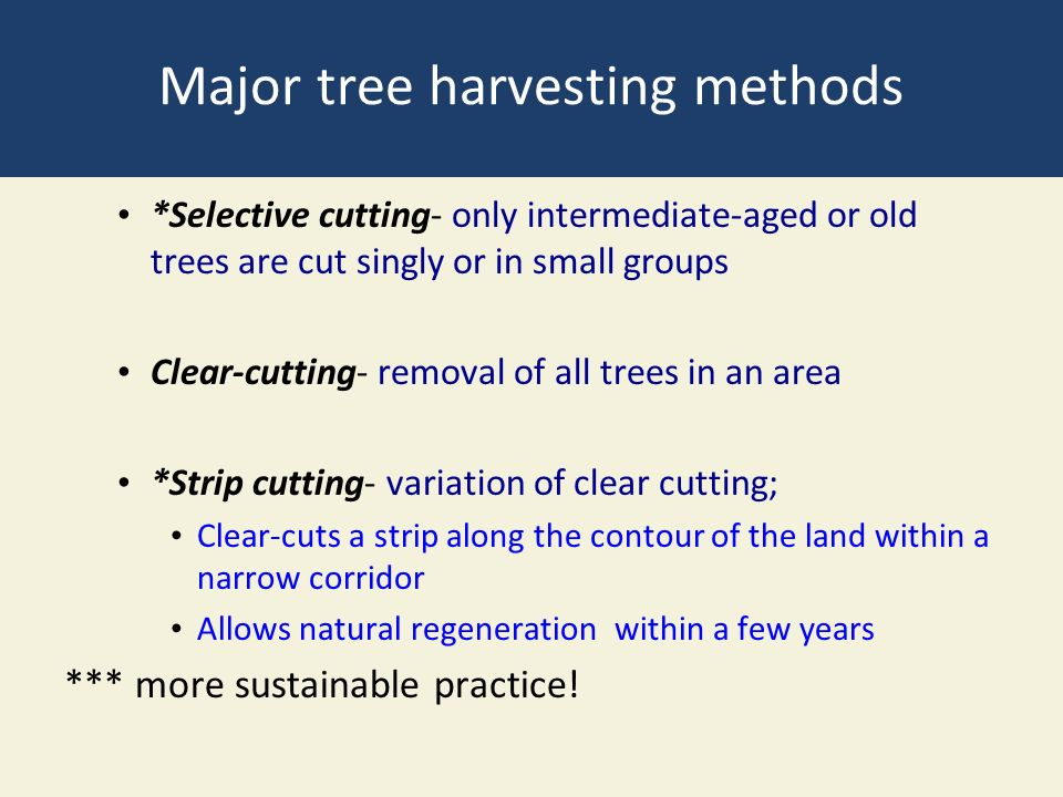 Major tree harvesting methods *Selective cutting- only intermediate-aged or old trees are cut singly or in small groups Clear-cutting- removal of all trees in an area *Strip cutting- variation of clear cutting; Clear-cuts a strip along the contour of the land within a narrow corridor Allows natural regeneration within a few years *** more sustainable practice!