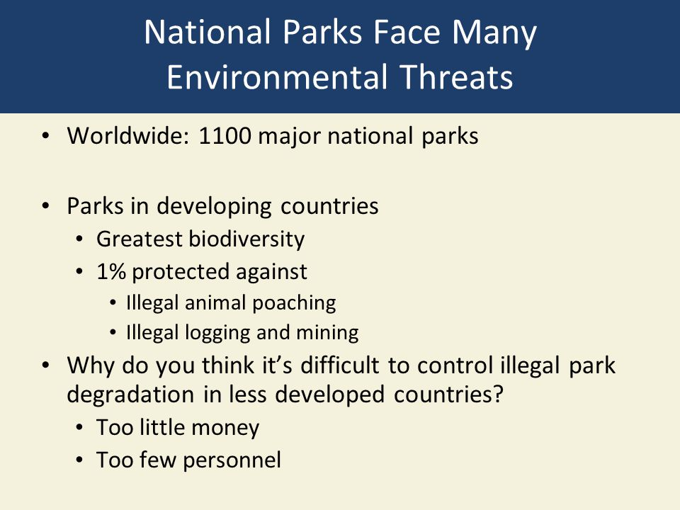 National Parks Face Many Environmental Threats Worldwide: 1100 major national parks Parks in developing countries Greatest biodiversity 1% protected against Illegal animal poaching Illegal logging and mining Why do you think it's difficult to control illegal park degradation in less developed countries.