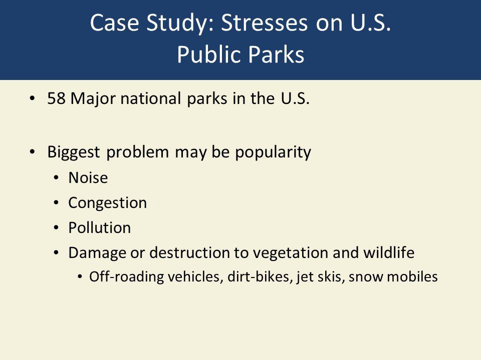 Case Study: Stresses on U.S. Public Parks 58 Major national parks in the U.S.