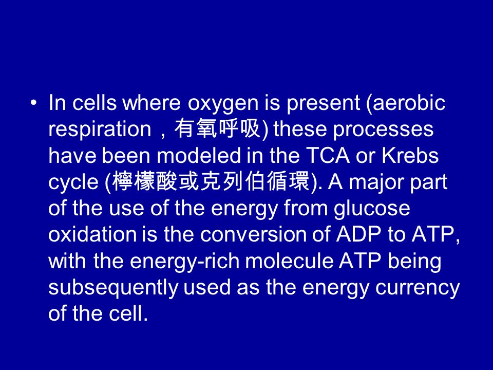 In cells where oxygen is present (aerobic respiration ,有氧呼吸 ) these processes have been modeled in the TCA or Krebs cycle ( 檸檬酸或克列伯循環 ).