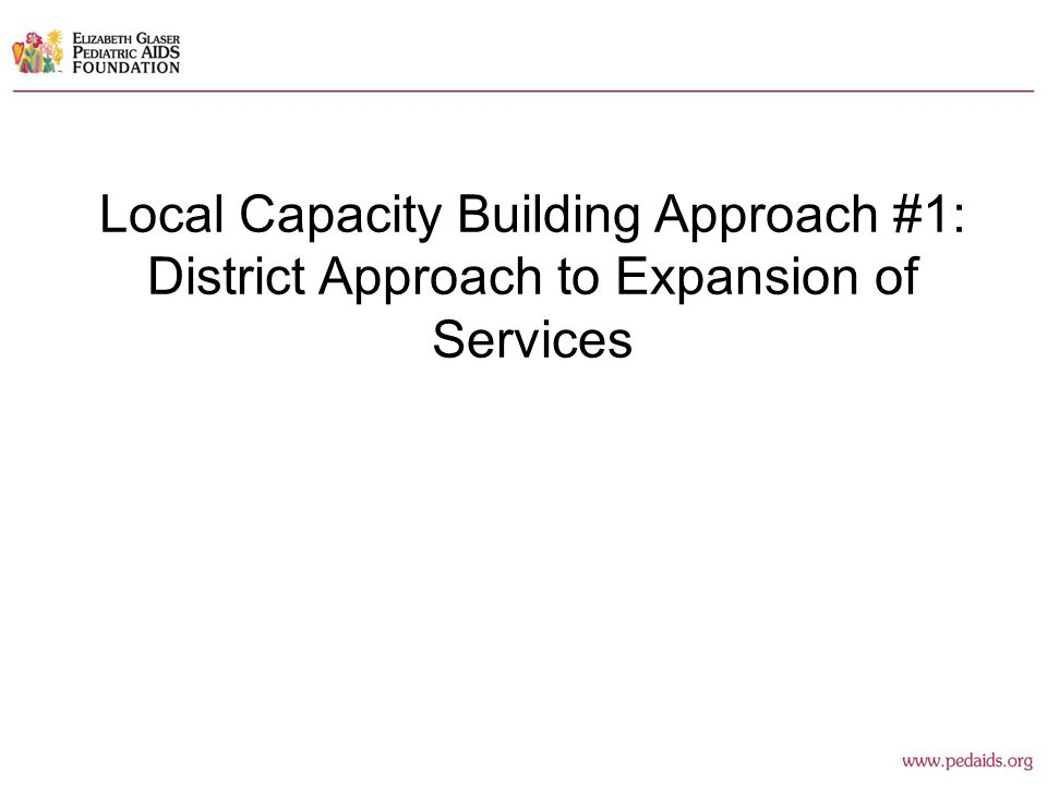 Local Capacity Building Approach #1: District Approach to Expansion of Services
