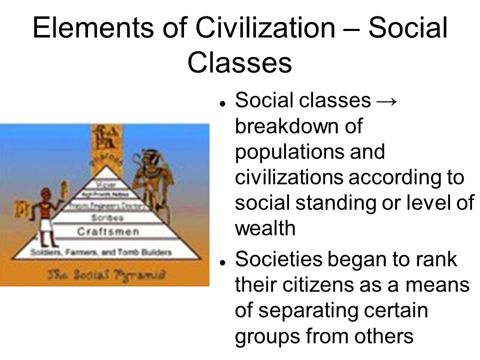 Elements of Civilization – Social Classes Social classes → breakdown of populations and civilizations according to social standing or level of wealth Societies began to rank their citizens as a means of separating certain groups from others