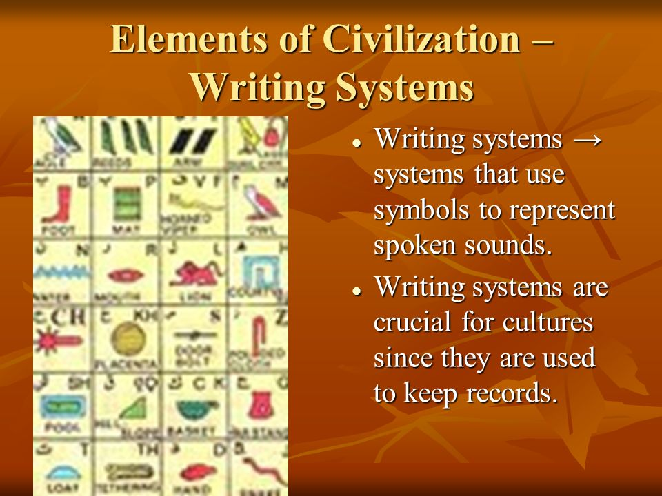 Elements of Civilization – Writing Systems Writing systems → systems that use symbols to represent spoken sounds.
