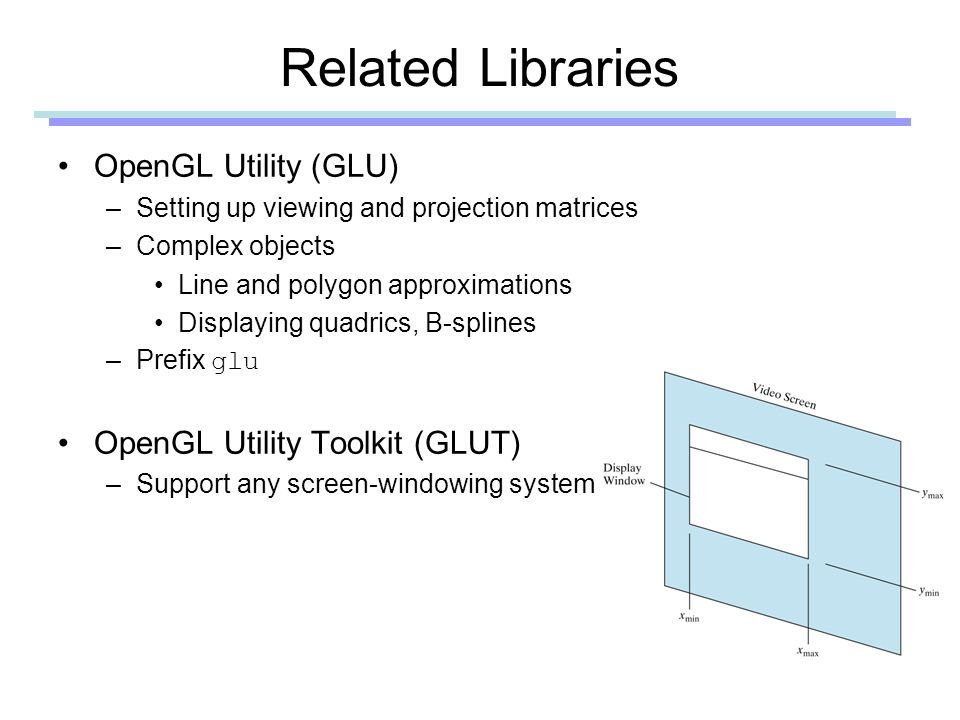 Related Libraries OpenGL Utility (GLU) –Setting up viewing and projection matrices –Complex objects Line and polygon approximations Displaying quadrics, B-splines –Prefix glu OpenGL Utility Toolkit (GLUT) –Support any screen-windowing system