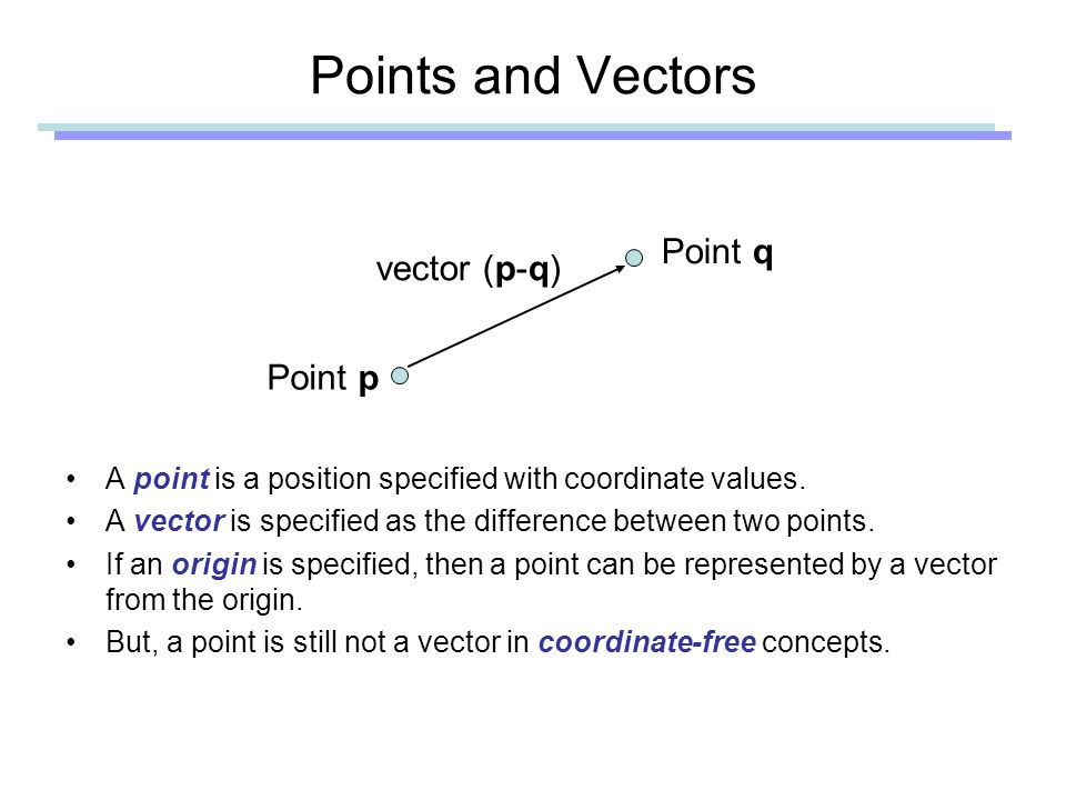 Points and Vectors A point is a position specified with coordinate values.
