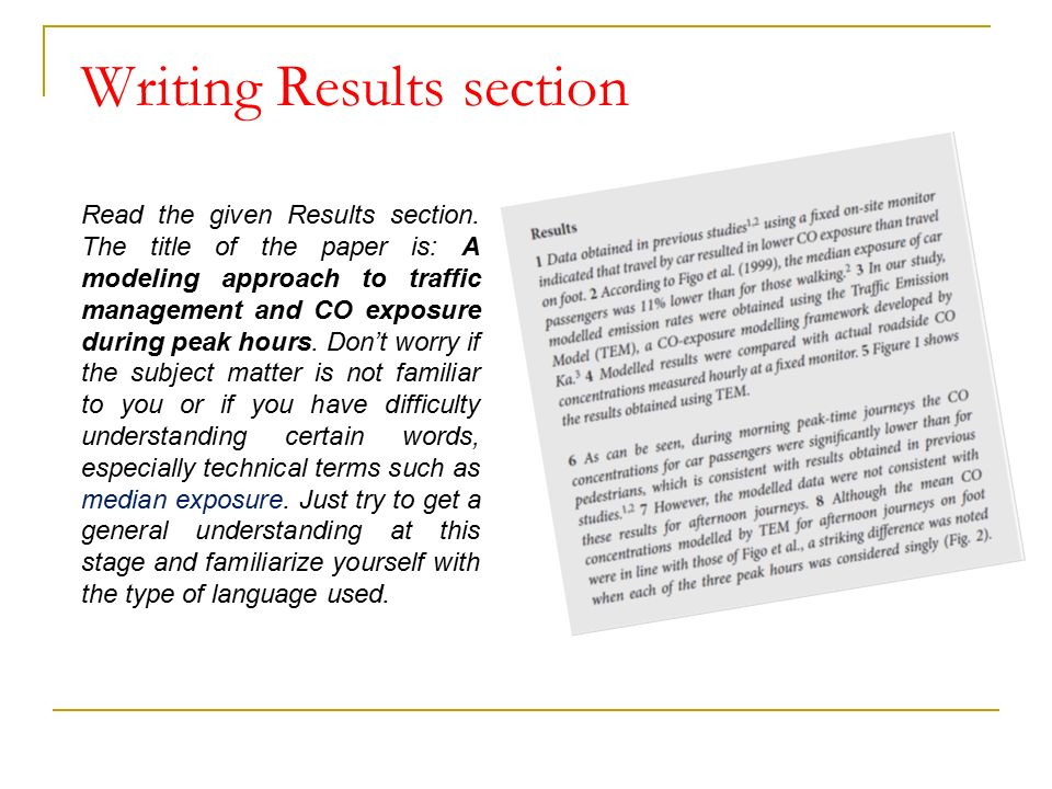 writing the results section of a thesis The abstract the abstract is a short version of the entire thesis which paper or thesis which are written however, writing working results section for.
