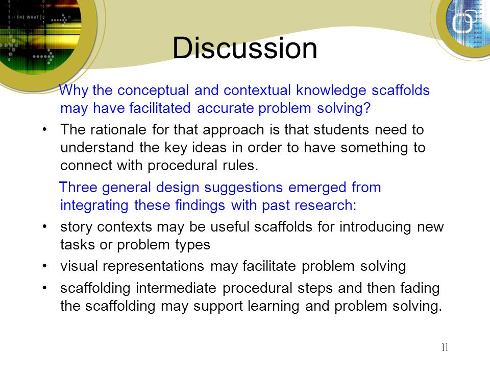 11 Discussion Why the conceptual and contextual knowledge scaffolds may have facilitated accurate problem solving.
