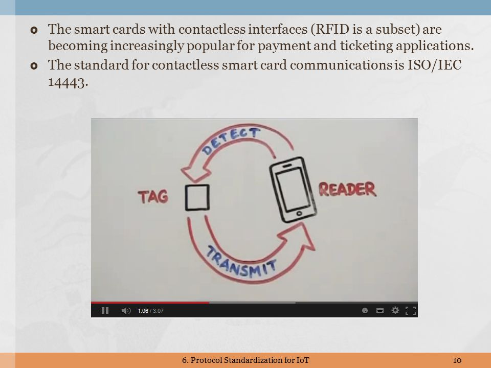  The smart cards with contactless interfaces (RFID is a subset) are becoming increasingly popular for payment and ticketing applications.