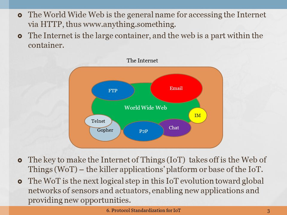  The World Wide Web is the general name for accessing the Internet via HTTP, thus