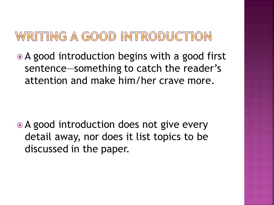 "how to write an good introduction As we talk about in the chapter ""it takes a network,"" a good way to strengthen your network is to make an introduction between article you're writing."