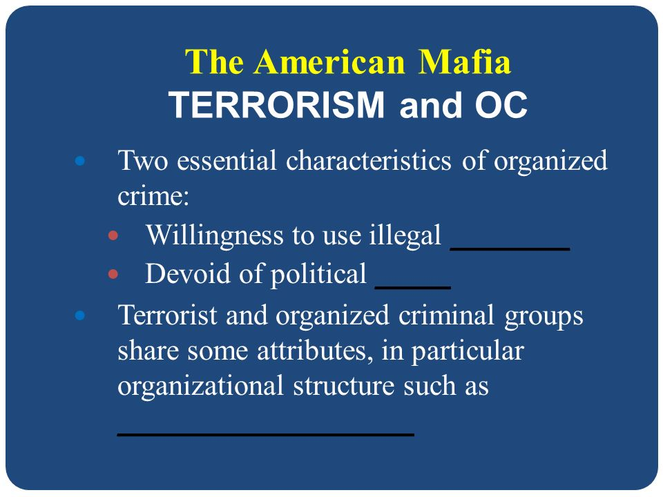 attributes of a organized crime group essay Included: crime essay expository essay content preview text: there are many theories of crime causation, but in large groups, these theories are often narrowed significantly, as most organized criminal groups have similar goals.
