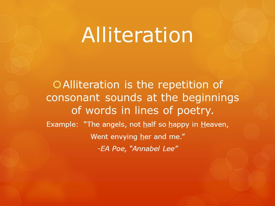 Elements Of Poetry Alliteration Alliteration Is The Repetition