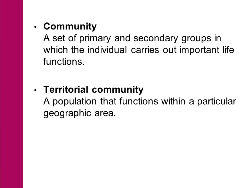 Community A set of primary and secondary groups in which the individual carries out important life functions.