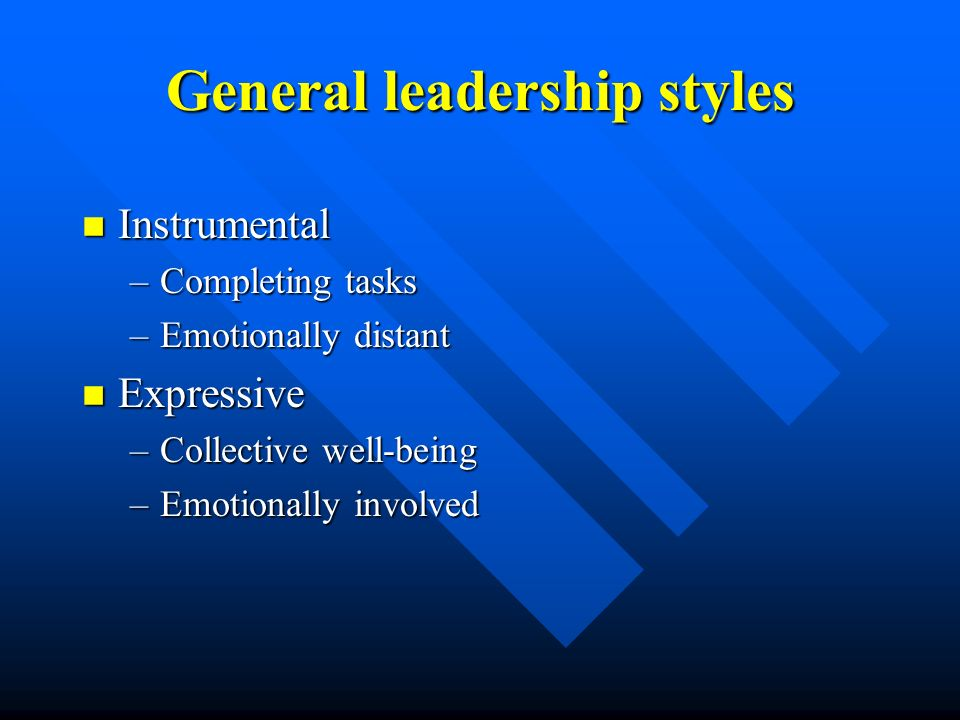 General leadership styles n Instrumental –Completing tasks –Emotionally distant n Expressive –Collective well-being –Emotionally involved