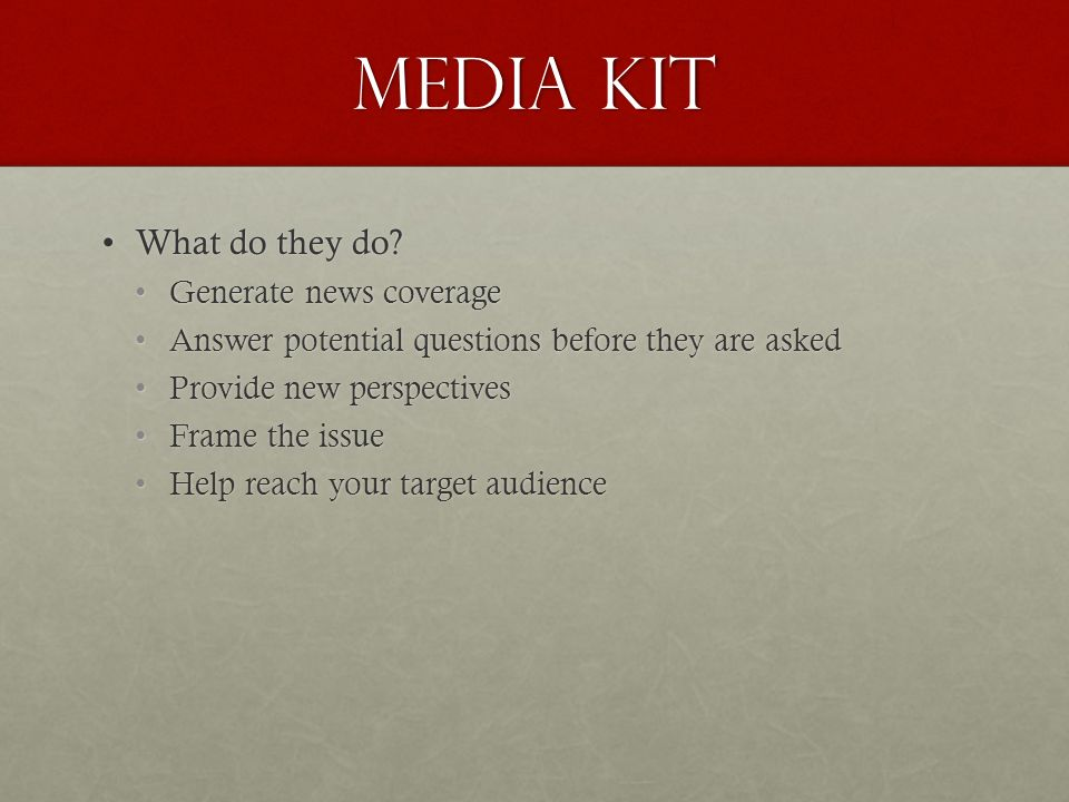 Questions about media kits..?