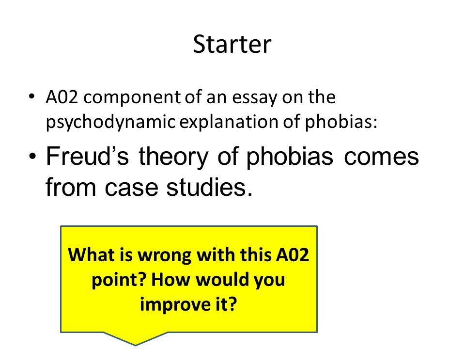 learning objectives to be able to apply evaluative skills to  starter a02 component of an essay on the psychodynamic explanation of phobias freud s theory of