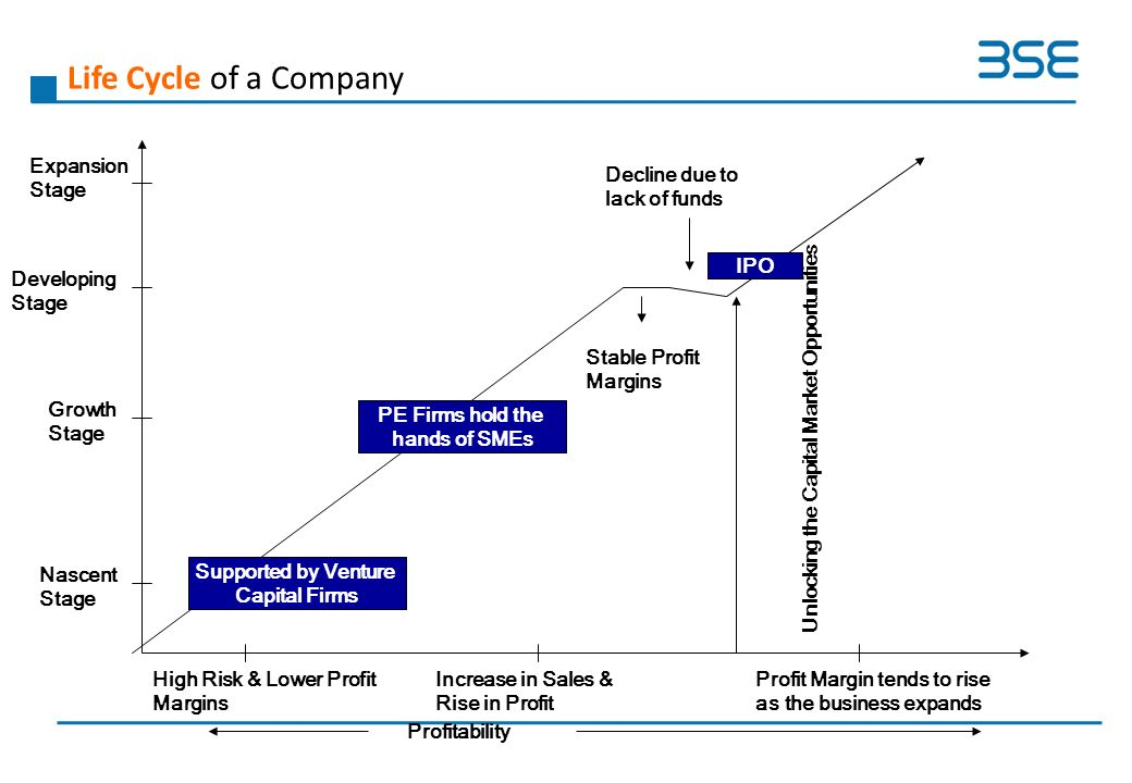 Life Cycle of a Company PE Firms hold the hands of SMEs Supported by Venture Capital Firms IPO Decline due to lack of funds Nascent Stage Growth Stage Developing Stage Expansion Stage Unlocking the Capital Market Opportunities Profitability High Risk & Lower Profit Margins Increase in Sales & Rise in Profit Stable Profit Margins Profit Margin tends to rise as the business expands