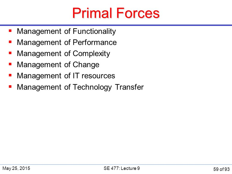 Primal Forces  Management of Functionality  Management of Performance  Management of Complexity  Management of Change  Management of IT resources  Management of Technology Transfer May 25, 2015SE 477: Lecture 9 59 of 93