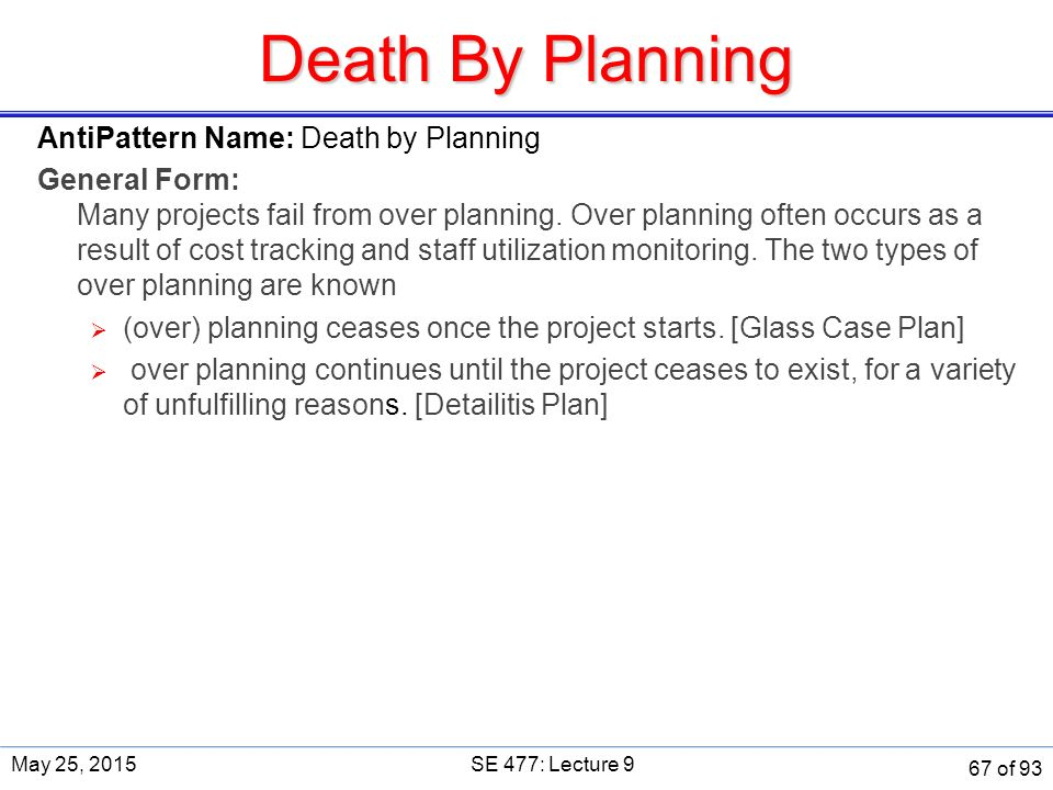 Death By Planning AntiPattern Name: Death by Planning General Form: Many projects fail from over planning.