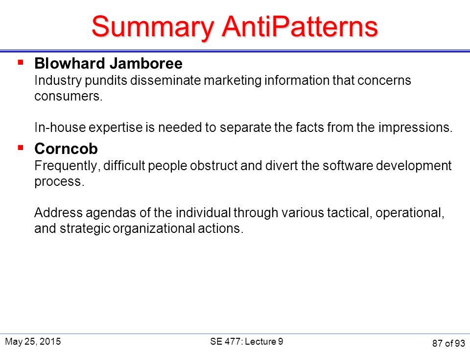 Summary AntiPatterns  Blowhard Jamboree Industry pundits disseminate marketing information that concerns consumers.