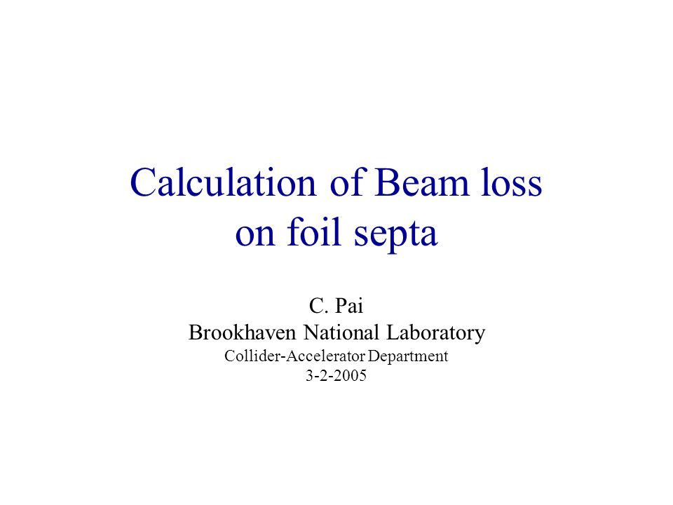 Calculation of Beam loss on foil septa C.