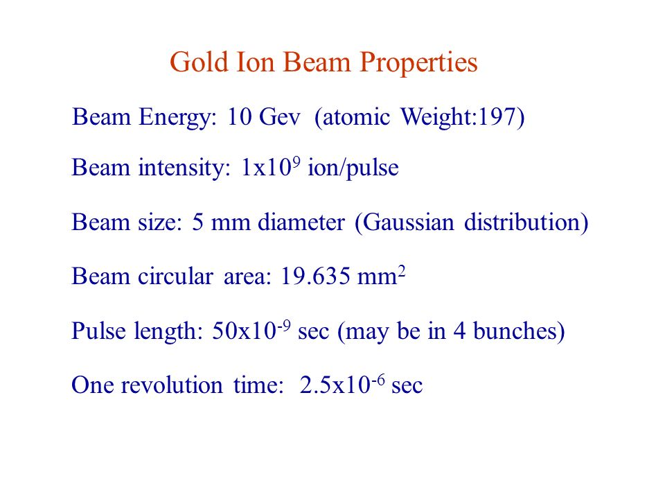 Gold Ion Beam Properties Beam Energy: 10 Gev (atomic Weight:197) Beam intensity: 1x10 9 ion/pulse Beam size: 5 mm diameter (Gaussian distribution) Beam circular area: 19.635 mm 2 Pulse length: 50x10 -9 sec (may be in 4 bunches) One revolution time: 2.5x10 -6 sec