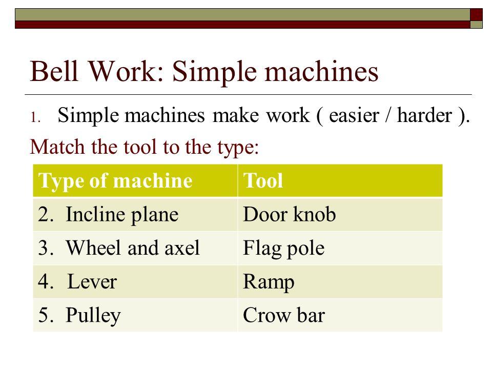 Bell Work: Simple machines 1. Simple machines make work ( easier ...
