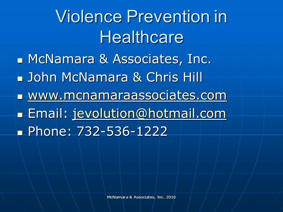 Violence Prevention in Healthcare McNamara & Associates, Inc.