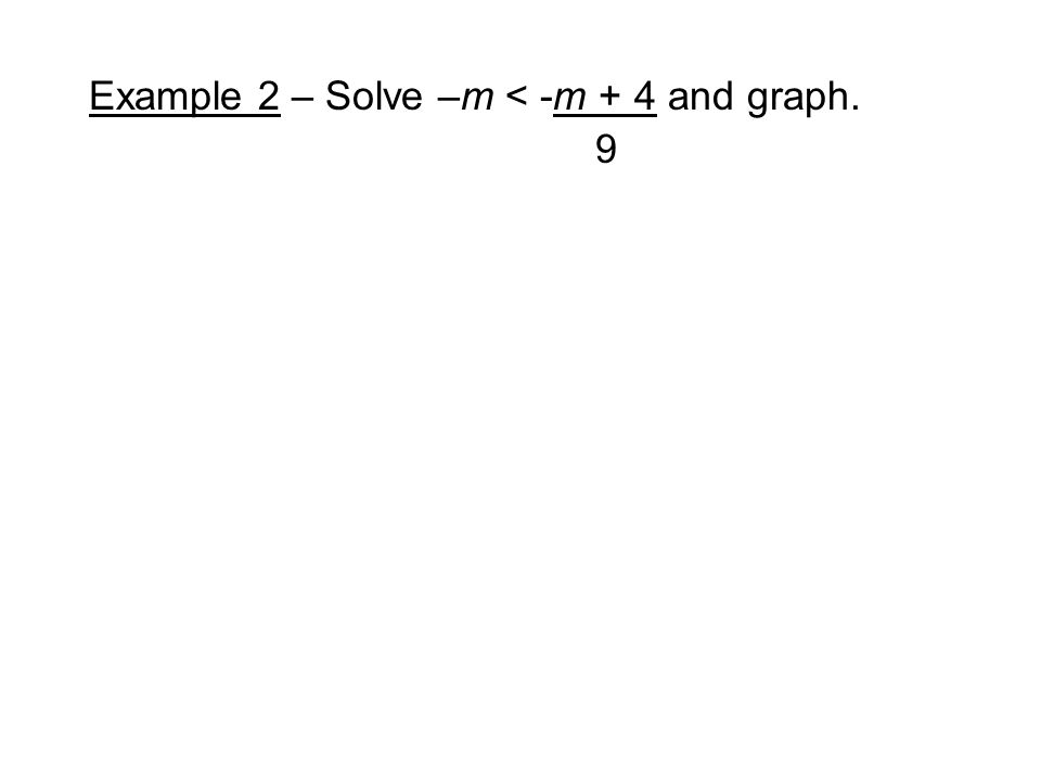 Example 2 – Solve –m < -m + 4 and graph. 9