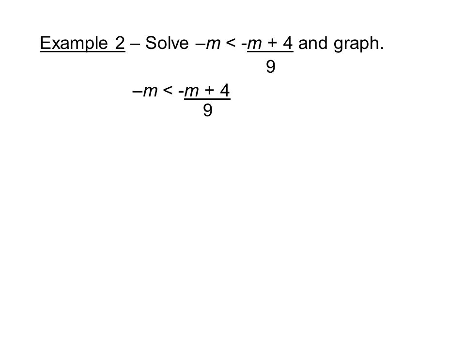 Example 2 – Solve –m < -m + 4 and graph. 9 –m < -m + 4 9